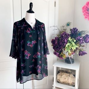UO Coincidence & Chance Black Floral Sheer Top